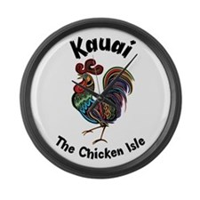 Kauai - The Chicken Isle Large Wall Clock