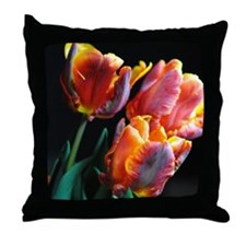 Red and Orange Parrot tulips Throw Pillow