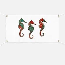 Three Metallic Xmas Seahorses Banner