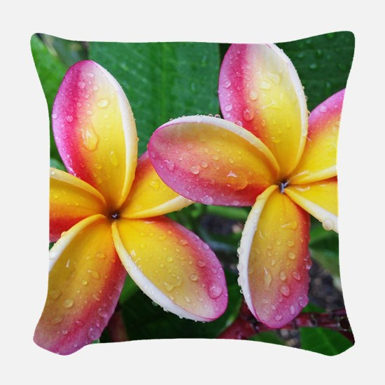 Maui Tropical Flower Woven Throw Pillow