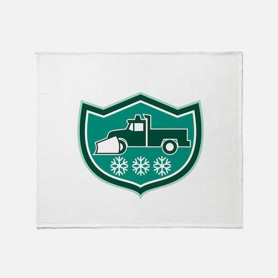 Snow Plow Truck Snowflakes Shield Retro Throw Blan