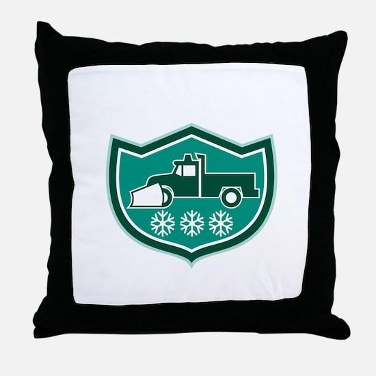Snow Plow Truck Snowflakes Shield Retro Throw Pill