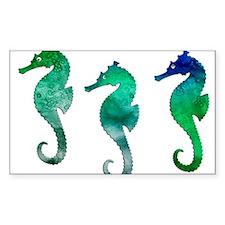 Three Dark Green Watercolor Seahorses Decal