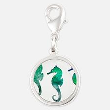 Three Dark Green Watercolor Seahorses Charms