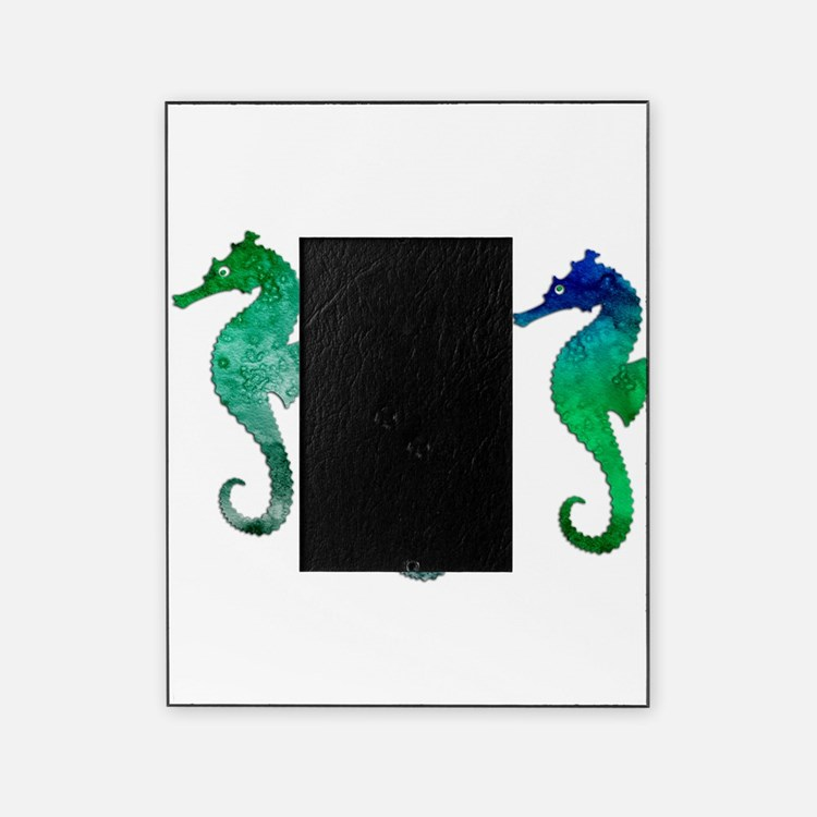 Three Dark Green Watercolor Seahors Picture Frame