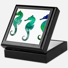 Three Dark Green Watercolor Seahorse Keepsake Box