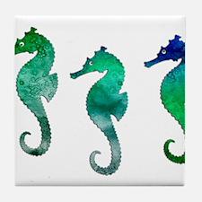 Three Dark Green Watercolor Seahorse Tile Coaster