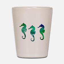 Three Dark Green Watercolor Seahorses Shot Glass