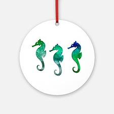 Three Dark Green Watercolor Seah Ornament (Round)