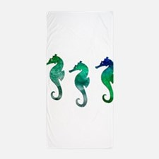 Three Dark Green Watercolor Seahorses Beach Towel