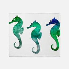 Three Dark Green Watercolor Seahors Throw Blanket
