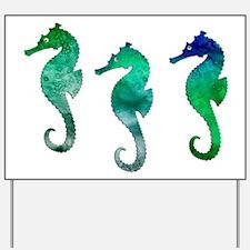 Three Dark Green Watercolor Seahorses Yard Sign