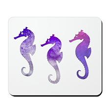 Three Purple Watercolor Seahorses Mousepad