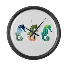 Tropical Seahorse Parade Large Wall Clock