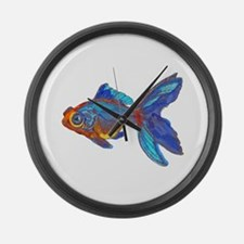 Watercolor Blue and Gold Fish Large Wall Clock