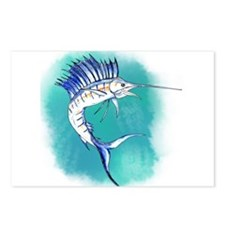 Watercolor Sailfish copy Postcards (Package of 8)