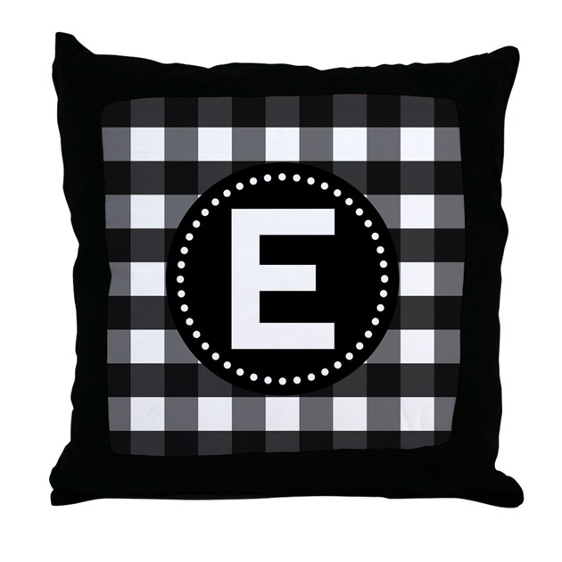 Monogram Letter Throw Pillow : Letter E Monogram Gingham Throw Pillow by MainstreetHomewares2