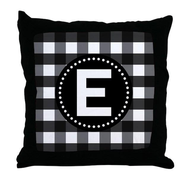 Letter E Monogram Gingham Throw Pillow by MainstreetHomewares2
