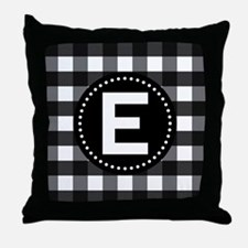 Letter E Monogram Gingham Throw Pillow