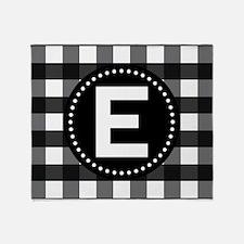 Letter E Monogram Gingham Throw Blanket