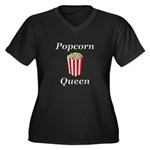 Popcorn Quee Women's Plus Size V-Neck Dark T-Shirt
