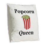 Popcorn Queen Burlap Throw Pillow