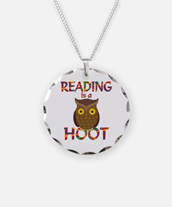 Reading is a Hoot Necklace Circle Charm