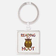 Reading is a Hoot Square Keychain