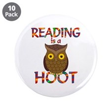 "Reading is a Hoot 3.5"" Button (10 pack)"