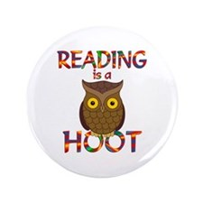 """Reading is a Hoot 3.5"""" Button (100 pack)"""
