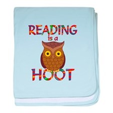 Reading is a Hoot baby blanket