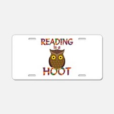 Reading is a Hoot Aluminum License Plate
