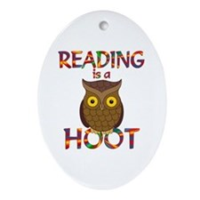 Reading is a Hoot Ornament (Oval)