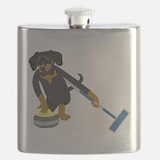 Dachshund Curling Flask