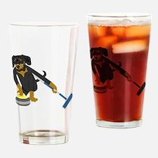 Dachshund Curling Drinking Glass
