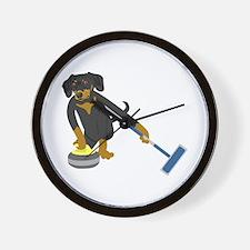 Dachshund Curling Wall Clock