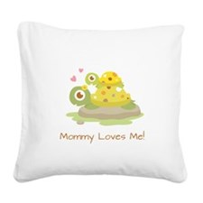Cute Turtle Mommy and Child Square Canvas Pillow