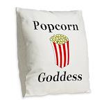 Popcorn Goddess Burlap Throw Pillow