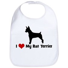I Love My Rat Terrier Bib