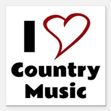 """I Love Country Music Square Car Magnet 3"""" x 3"""""""