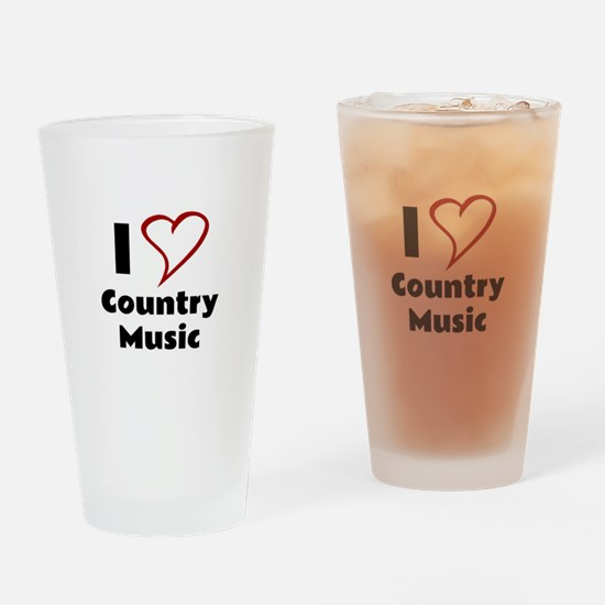 I Love Country Music Drinking Glass