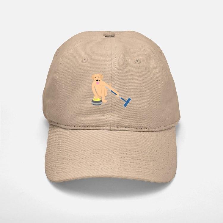 Golden Retriever Curling Baseball Baseball Cap