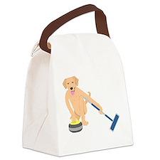 Golden Retriever Curling Canvas Lunch Bag
