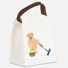 Golden Retriever Curling Canvas Lunch Bag