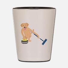 Golden Retriever Curling Shot Glass