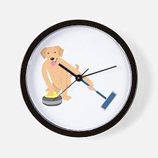 Golden Retriever Curling Wall Clock