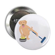 """Golden Retriever Curling 2.25"""" Button"""