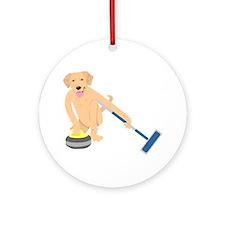 Golden Retriever Curling Ornament (Round)