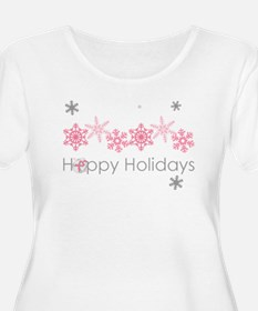 Pink Snkowflake Holidays Plus Size T-Shirt