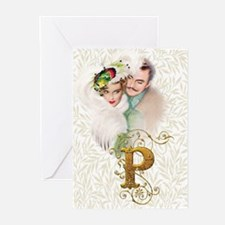 Monogram P Art Deco Lovers Greeting Cards